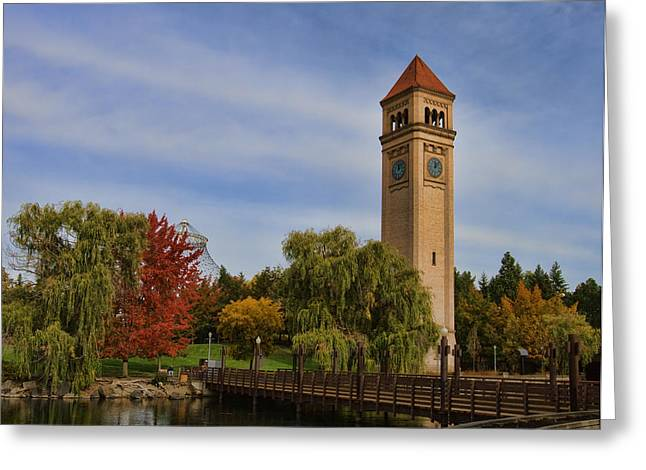 Clocktower Fall Colors Greeting Card