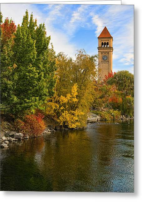 Clocktower In Fall Greeting Card