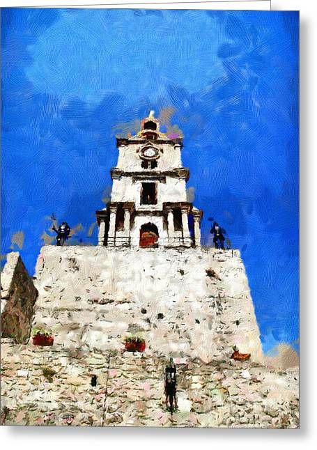 Clocktower With Guarding Knights Painting Greeting Card by Magomed Magomedagaev