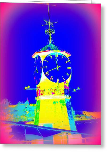 Come Home When The Clockwork Is Blue And Yellow  Greeting Card by Hilde Widerberg