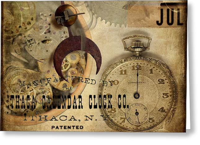 Clockworks Greeting Card by Fran Riley