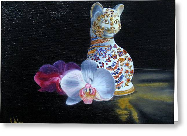 Greeting Card featuring the painting Cloisonne Cat by LaVonne Hand