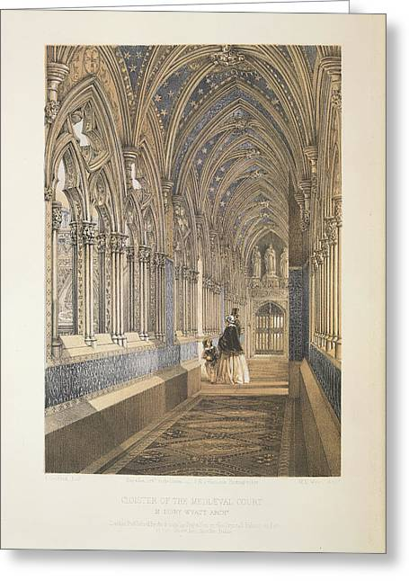 Cloister Of The Mediaevel Court Greeting Card by British Library