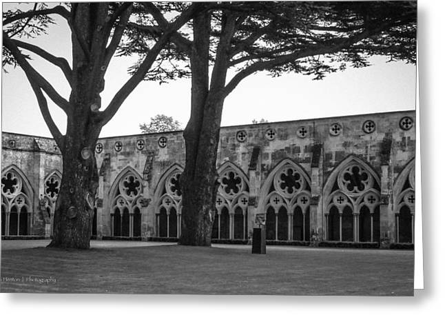 Cloisters Of Salisbury Greeting Card by Ross Henton