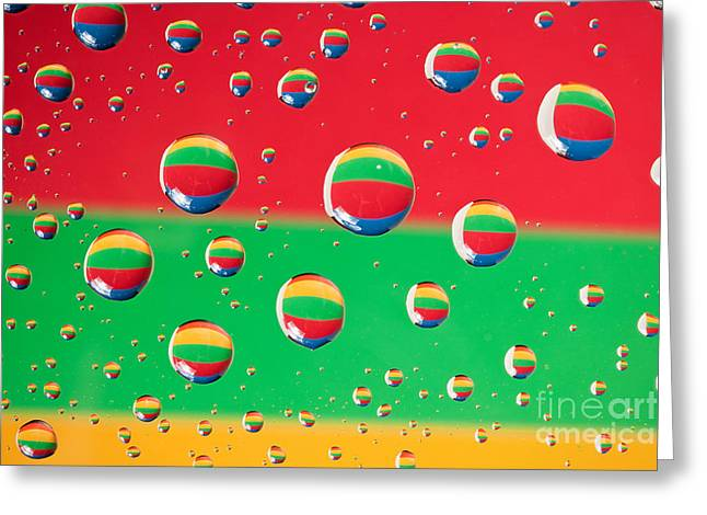 Clolrful Water Drop Reflections Greeting Card by Sharon Dominick