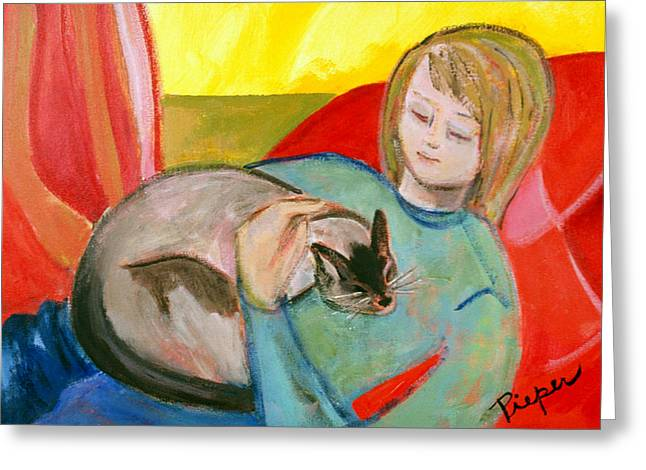 Greeting Card featuring the painting Close At Heart by Betty Pieper