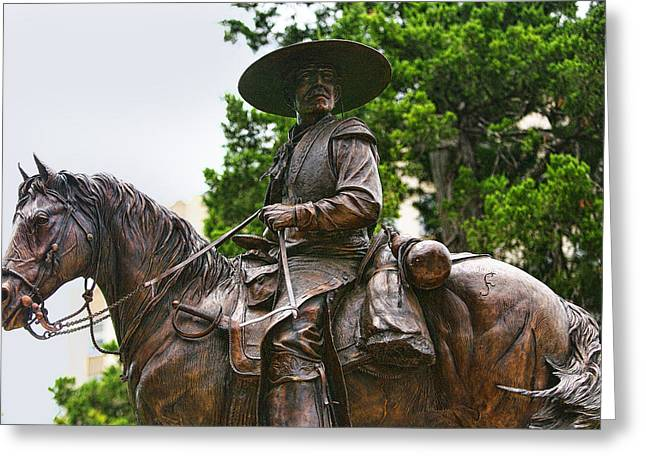 Close Bronze Sculpture Of Early Texas Cowboy Greeting Card