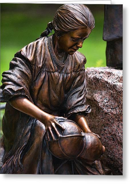 Close Bronze Sculpture Of Girk Greeting Card by Linda Phelps