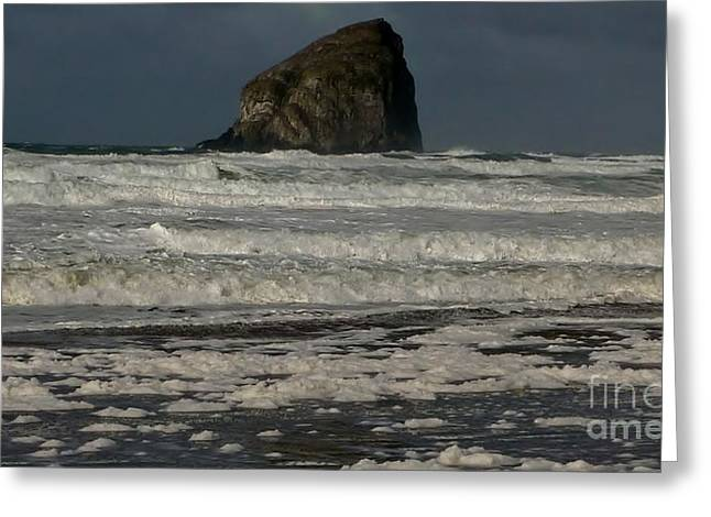 Greeting Card featuring the photograph Close Haystack Rock by Susan Garren