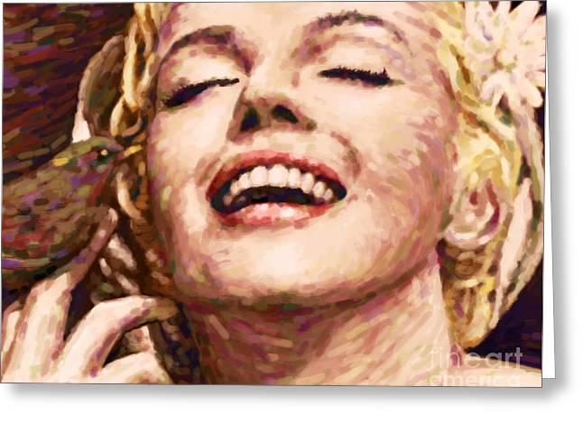 Close Up Beautifully Happy Greeting Card by Atiketta Sangasaeng