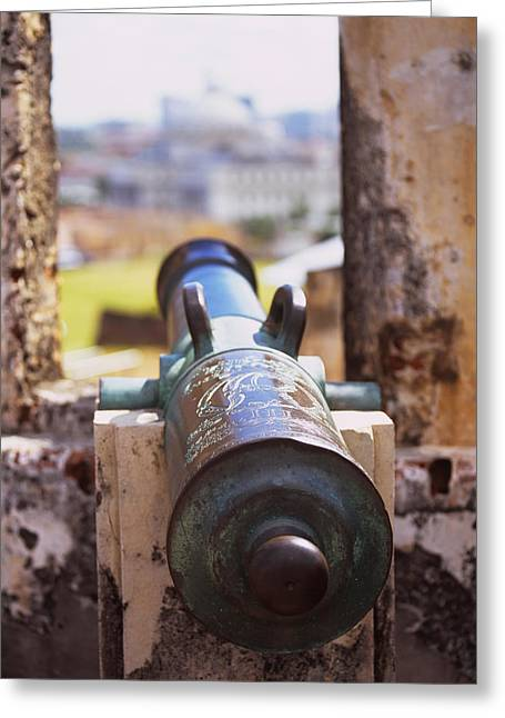 Close-up Of A Cannon At A Castle Greeting Card by Panoramic Images