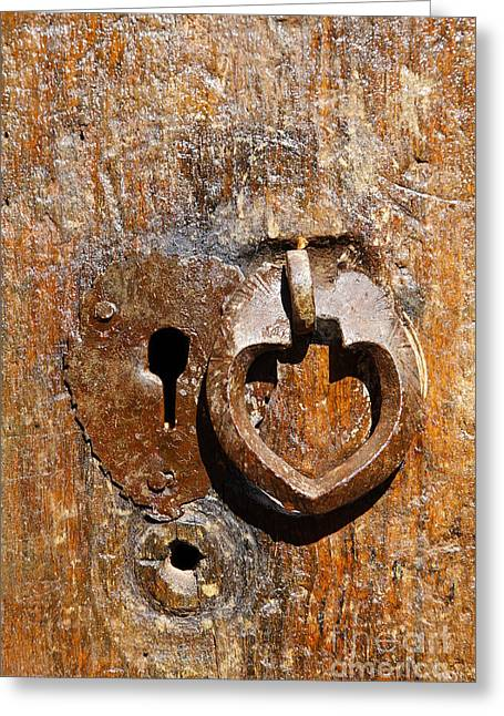 Close Up Of A Heart Shaped Lock On A Door In The Village Of Abyaneh In Iran Greeting Card by Robert Preston
