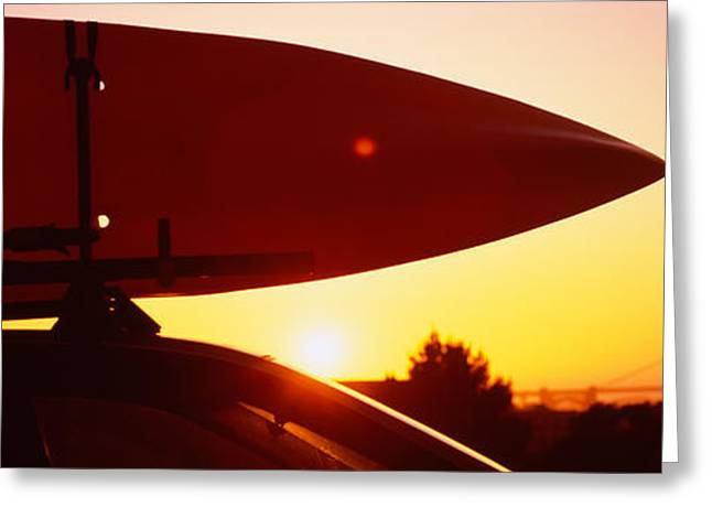 Close-up Of A Kayak On A Car Roof Greeting Card by Panoramic Images