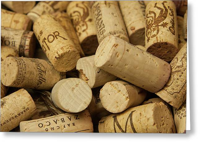 Close-up Of A Pile Of Wine Cork Greeting Card
