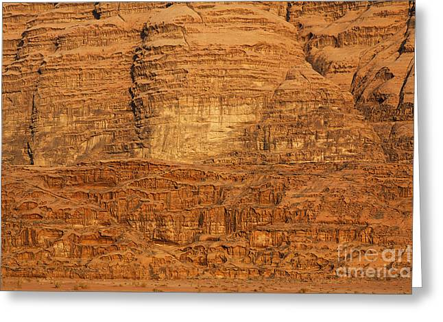 Close Up Of A Rocky Outcrop At Wadi Rum In Jordan Greeting Card by Robert Preston