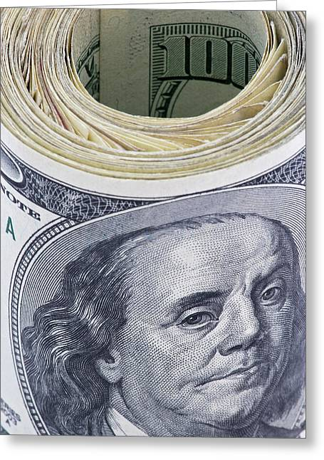 Close-up Of A Roll Of Us $100 Bills Greeting Card