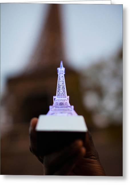 Close-up Of A Souvenir Miniature Eiffel Greeting Card
