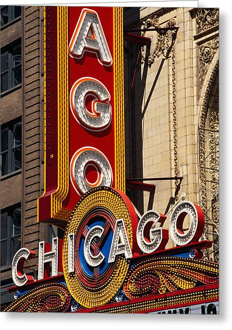 Close-up Of A Theater Sign, Chicago Greeting Card