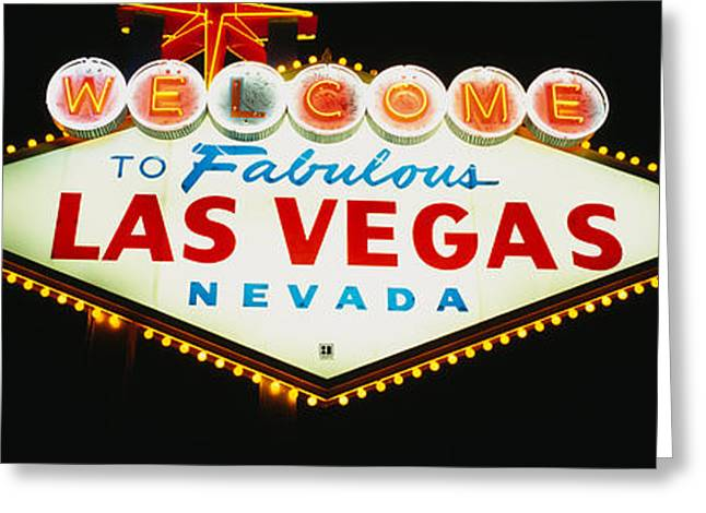 Close-up Of A Welcome Sign, Las Vegas Greeting Card