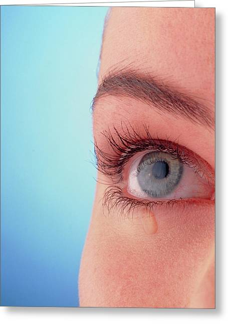 Close-up Of A Woman's Blue Eye With A Tear-drop Greeting Card by Phil Jude/science Photo Library