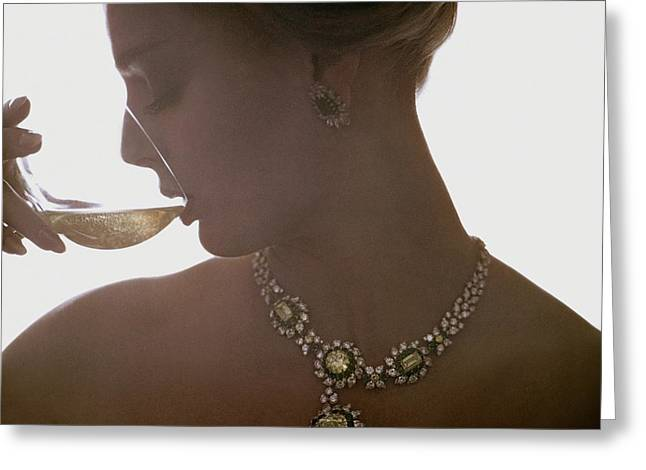 Close Up Of A Young Woman Wearing Jewelry Greeting Card by Bert Stern