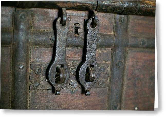 Close Up Of An Antique Wooden Chest Greeting Card by Julien Mcroberts