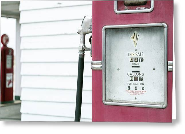 Close Up Of Antique Gas Pump, Dwight Greeting Card by Julien Mcroberts
