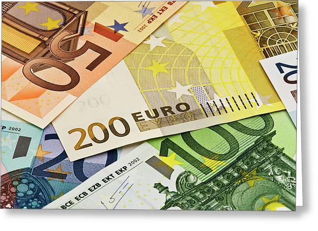 Close-up Of Assorted Euro Paper Currency Greeting Card by Jaynes Gallery
