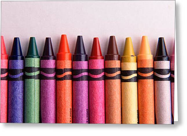 Close-up Of Assorted Wax Crayons Greeting Card by Panoramic Images