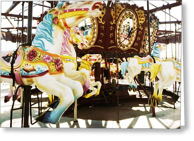 Close-up Of Carousel Horses, Coney Greeting Card by Panoramic Images
