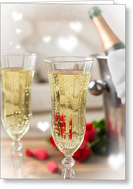 Close Up Of Champagne Greeting Card by Amanda Elwell