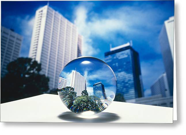 Close Up Of Clear Globe With White Sky Greeting Card by Panoramic Images
