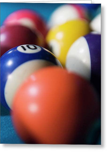 Billiard ball greeting cards page 4 of 8 fine art america close up of colored billiard balls greeting card m4hsunfo