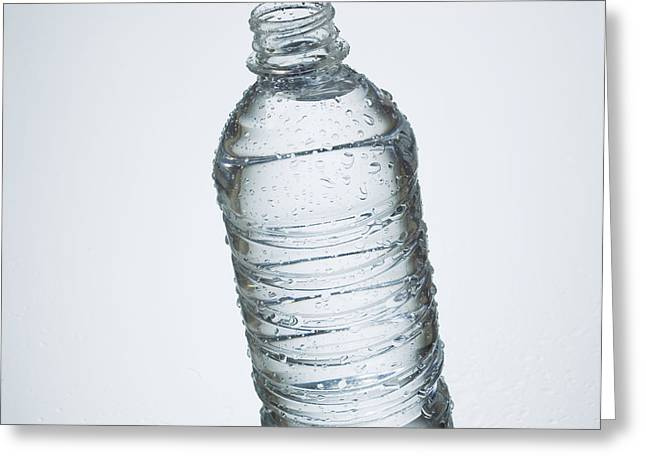 Close-up Of Disposable Water Bottle Greeting Card by Bruno Crescia