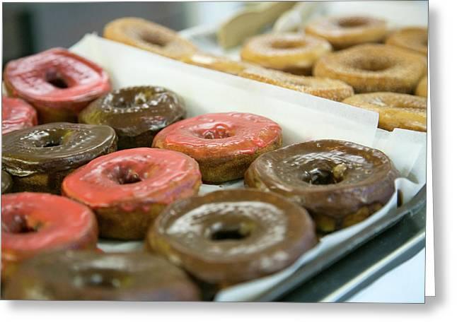 Close Up Of Doughnuts, Springfield Greeting Card by Julien Mcroberts