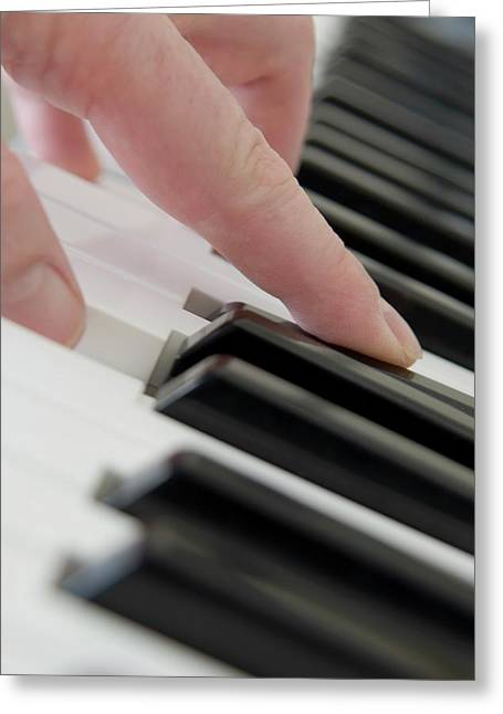Close Up Of Finger Playing Piano Greeting Card by John Short