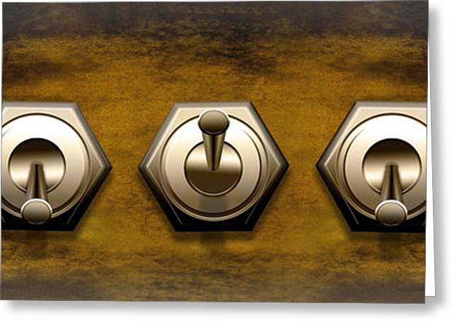 Close-up Of Five Switches Greeting Card