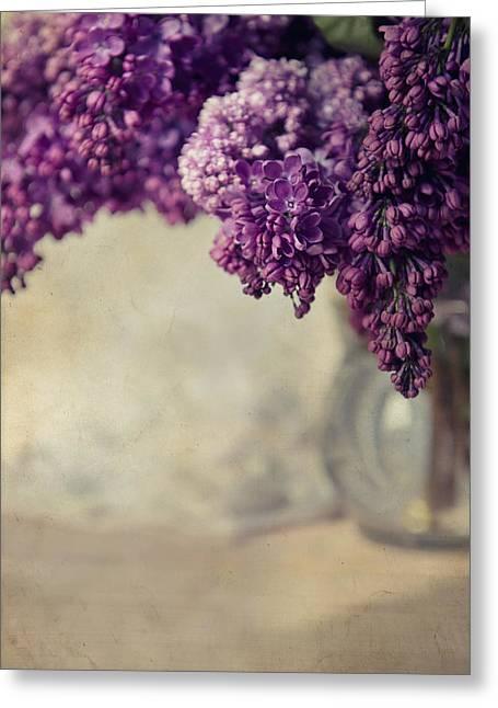 Close Up Of Fresh Lilacs Greeting Card by Jaroslaw Blaminsky