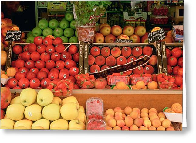 Close-up Of Fruits In A Market, Rue De Greeting Card