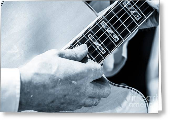 Close Up Of Guitarist Hand Strumming Greeting Card
