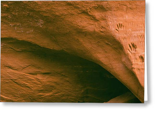 Close-up Of Hand Petroglyphs On Cave Greeting Card by Panoramic Images