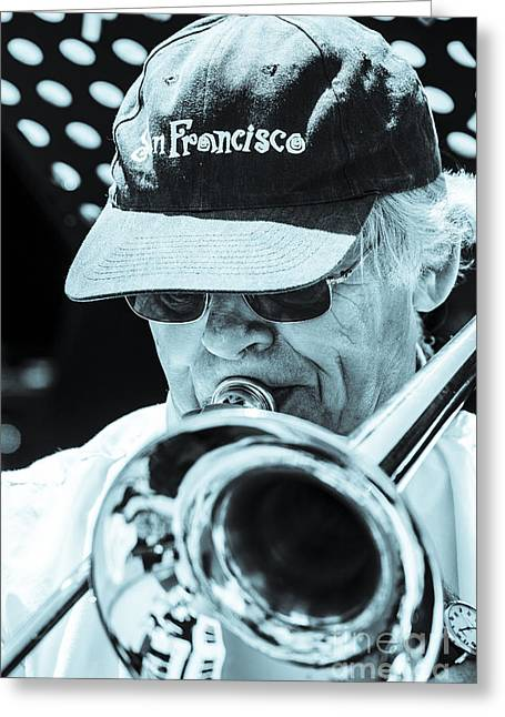 Close Up Of Male Trombone Player In Baseball Cap Greeting Card