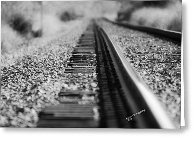 Greeting Card featuring the photograph Close Up Of Rail Road Tracks by Karen Kersey