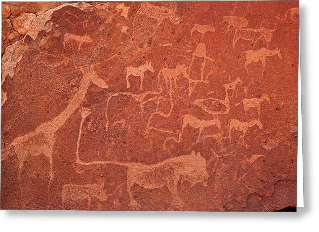 Close-up Of Rock Engravings Or Greeting Card