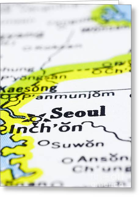 close up of Seoul on map-korea Greeting Card by Tuimages