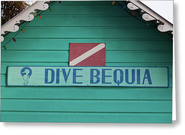 Close-up Of Sign Dive Bequia, Port Greeting Card