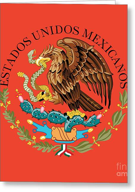 Close Up Of The Seal Within The Mexican National Flag Greeting Card