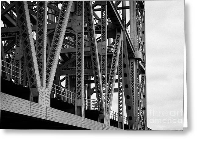 close up of the steel girders of the Broadway Bridge over the Harlem River new york city Greeting Card by Joe Fox