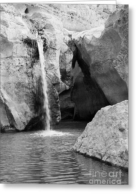 close up of the the Great Waterfall in the canyon at tamerza oasis in the Atlas mountains tunisia Greeting Card