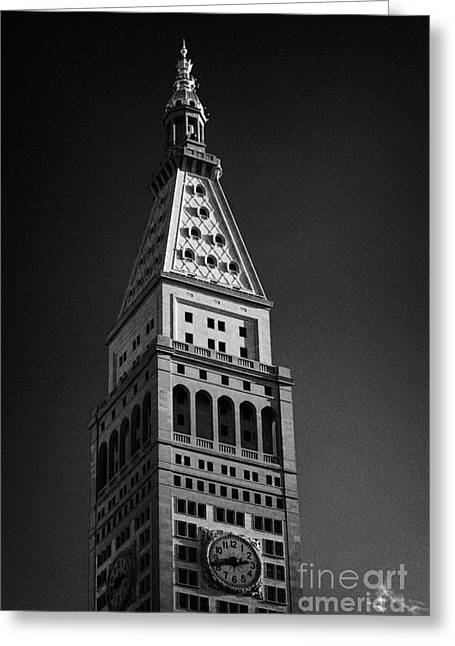 Close Up Of The Top Of The Metropolitan Life Insurance Company Tower And Clock Met Life New York  Greeting Card by Joe Fox